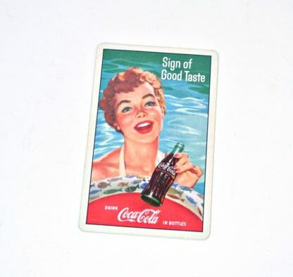 Vintage 1950's Coca Cola playing card - lady at swimming pool