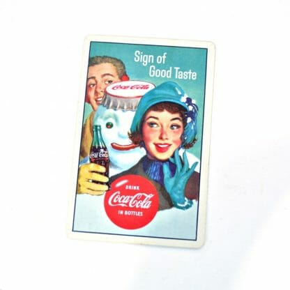 Vintage 1950's Coca Cola playing card - snowman wearing Coke bottle cap