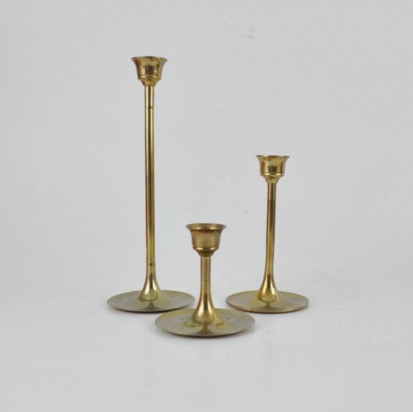 3 skinny brass candlesticks