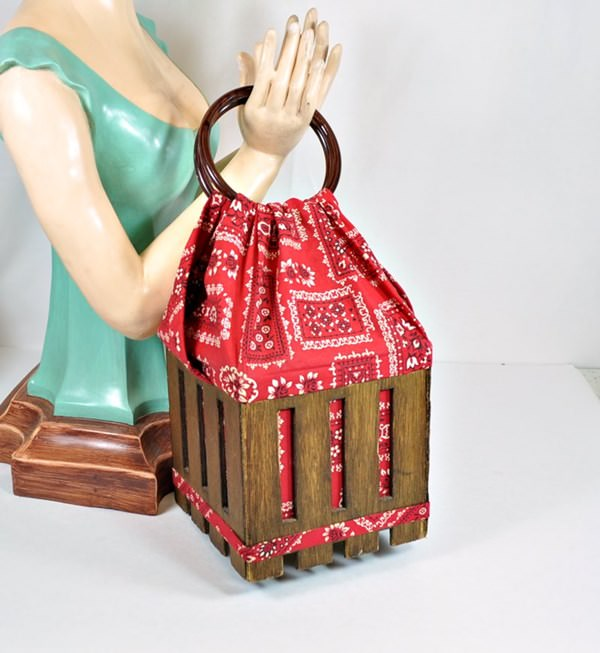 Wood basket purse with red, bandana fabric