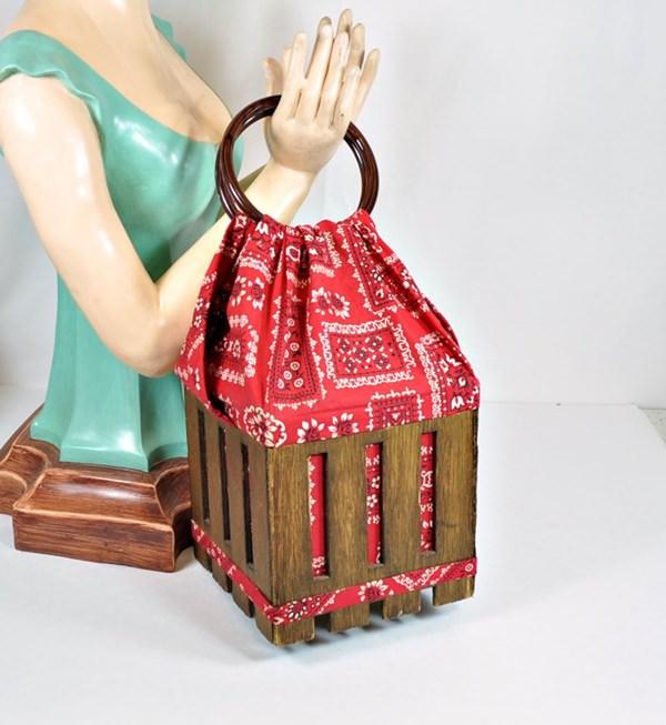 Wood basket purse with red, bandana fabric