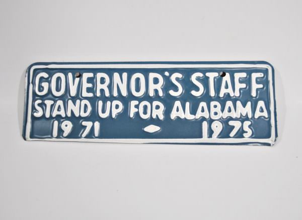 Alabama Governor's Staff tag from 1975
