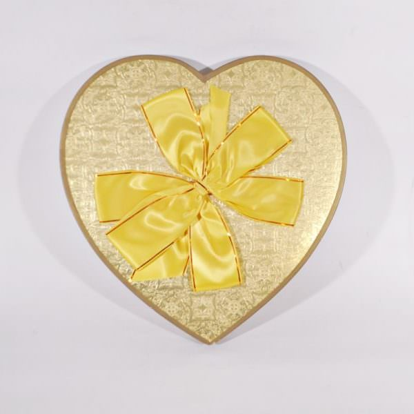 Vintage yellow candy heart box