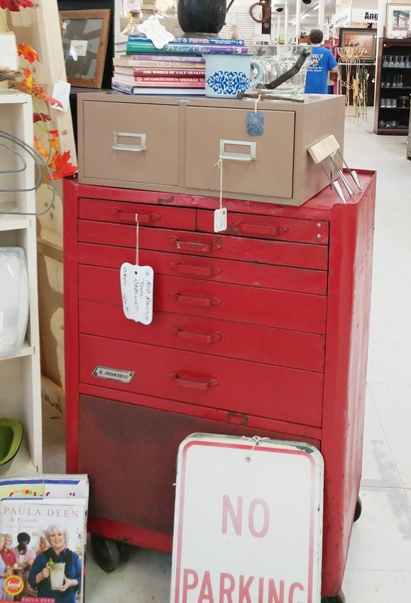 Vintage, red, industrial tool cabinet