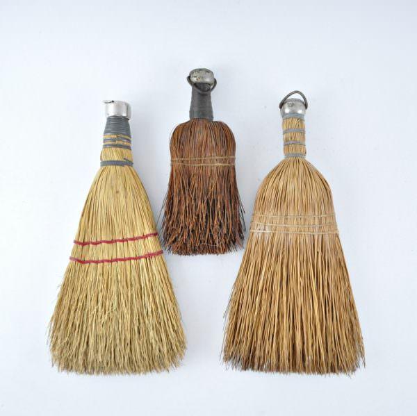 Three Vintage Whisk Brooms