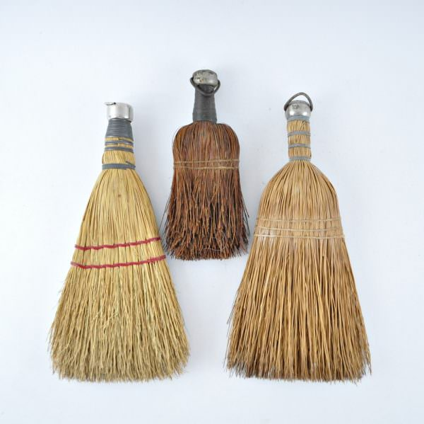Three Vintage Whisk Brooms