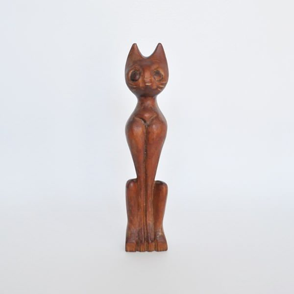 Mod Carved Wood Siamese Cat