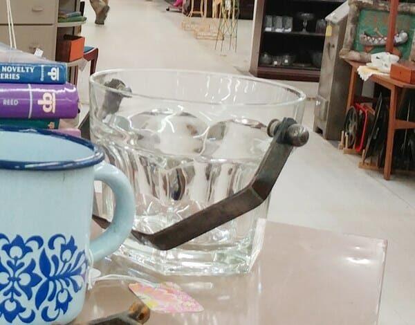 Old Glass Ice Bucket