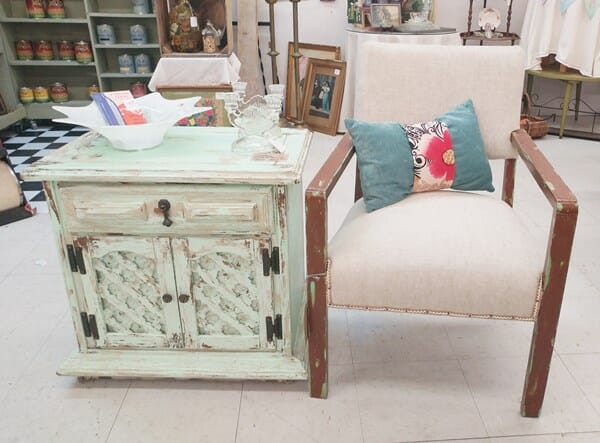 Painted end table and chair