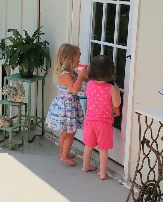 The girls cleaning the door windows