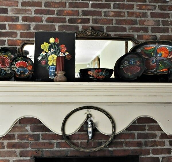 Colorful Mexican bowls on a mantle