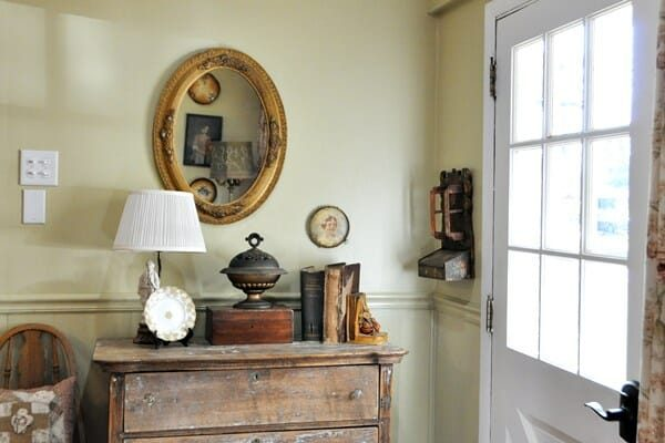 Vintage vignette on an old, oak chest.