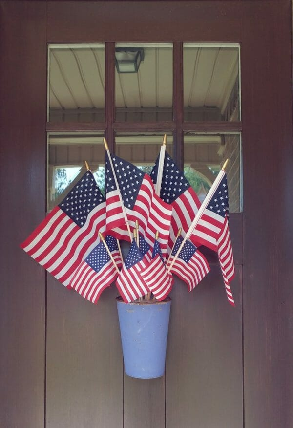Patriotic decoration of flags on the front door