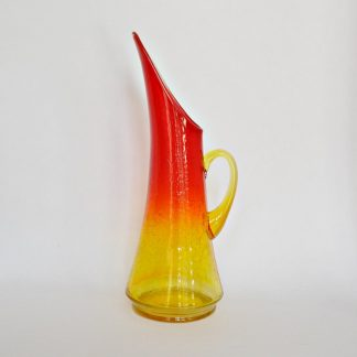Vintage amberina crackle glass pitcher