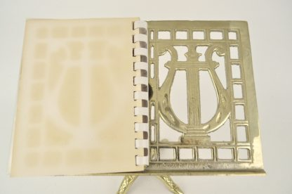 Brass lyre design photo stand - right side