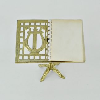 Vintage brass lyre design photo stand for 3 x 5 pictures