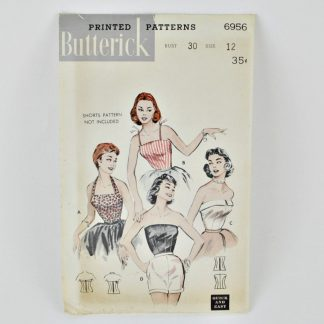 "Vintage halter top pattern from the 1950s Butterick 6956 for 30"" bust"