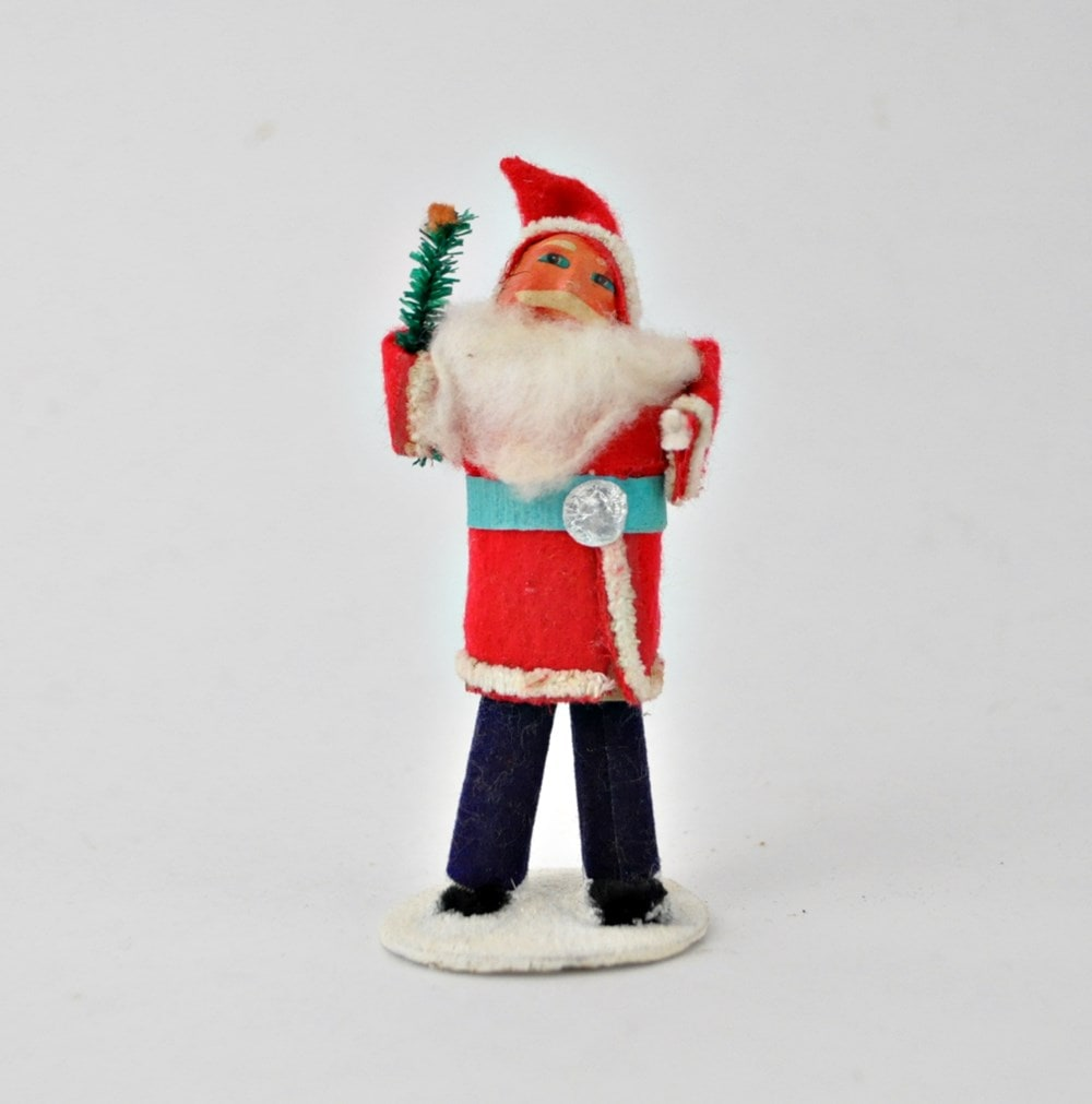 Vintage Santa Chenille and Paper Mache 4″ Tall