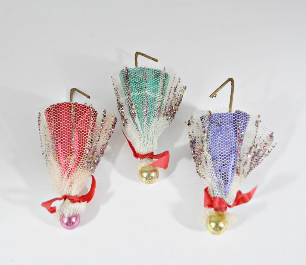 3 Vintage Umbrella Christmas Ornaments