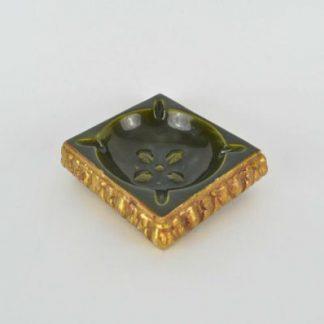 1960s Freeman McFarlin Ashtray - Green and Gold Decorator Item