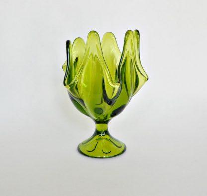 Vintage green viking handkerchief vase with 6 petals