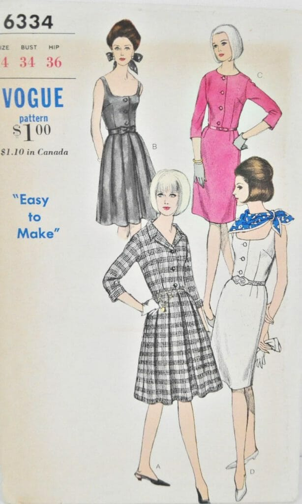 Vintage Vogue 6334 Bust 34 1960s Sleeveless Dress or 3/4 Sleeves Pleated or Straight Skirt