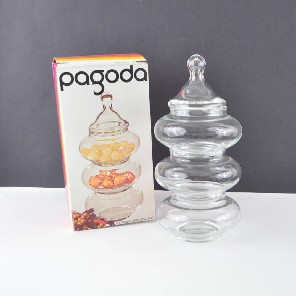 Vintage Boho Decor 1970's Stacking Jar Set – The Pagoda – By Anchor Hocking – Stacking Apothecary Jars