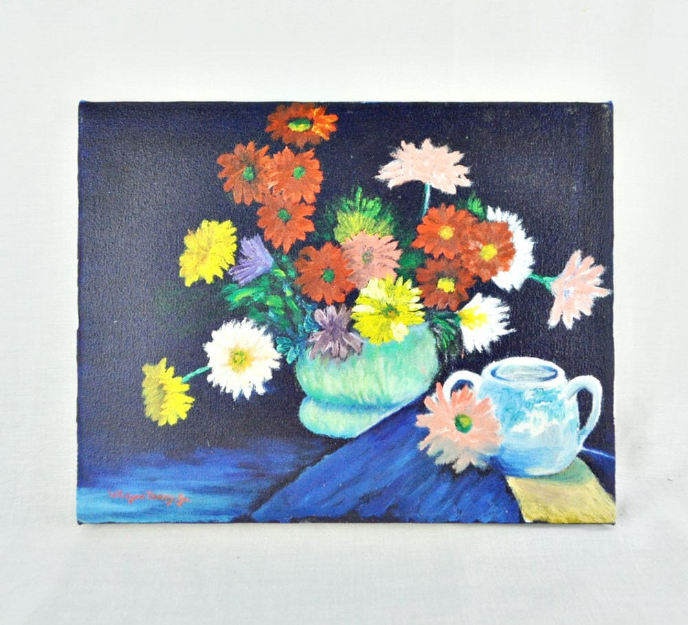 Floral Still Life Painting On Stretched Canvas – Navy Background