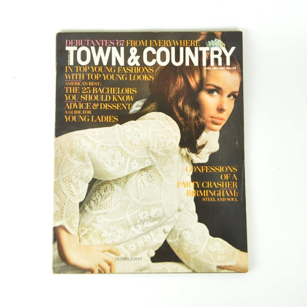June 1967 Town and Country Magazine with Victoria Lou Schott on Cover, Featurs of Birmingham Alabama and Bear Bryant and Shug Jordan Golden Flake Coke Ad