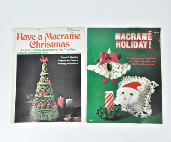 2 vintage, Christmas macrame instruction books