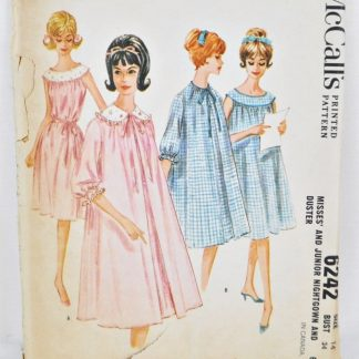 Vintage McCall's 6242 - nightgown and housecoat pattern for bust 34""