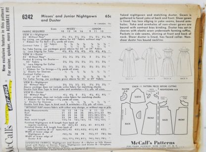Back of envelope of McCall's 6242 - vintage nightgown and housecoat pattern