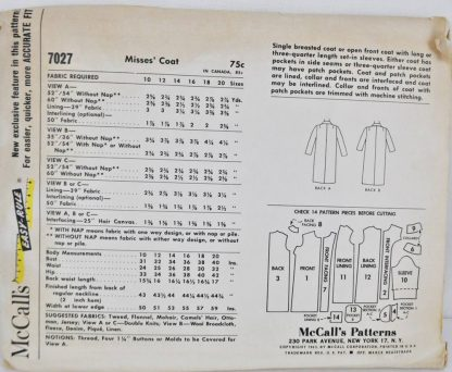 Vintage coat pattern from the 1960s. McCall's 7027, bust 34.