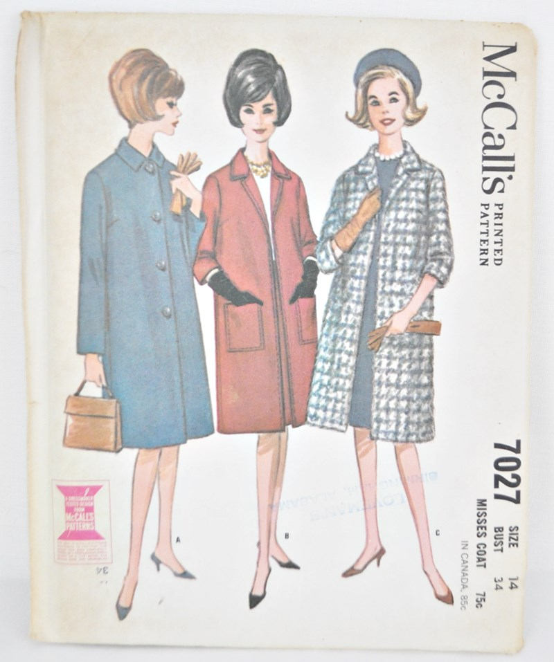 Vintage Coat Pattern Bust 34 1960's Knee Length Coat Sewing Pattern McCall's 7027 with Sleeve Length Options Uncut