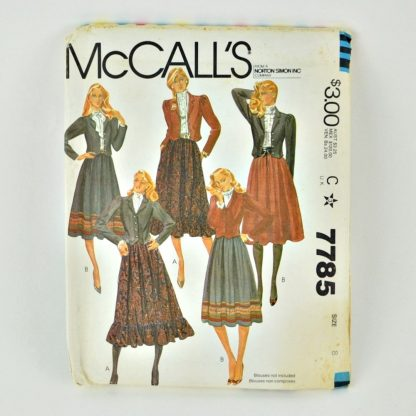 Vintage 1980s pattern, McCall's 7785. Peasant skirt and waist length jacket.