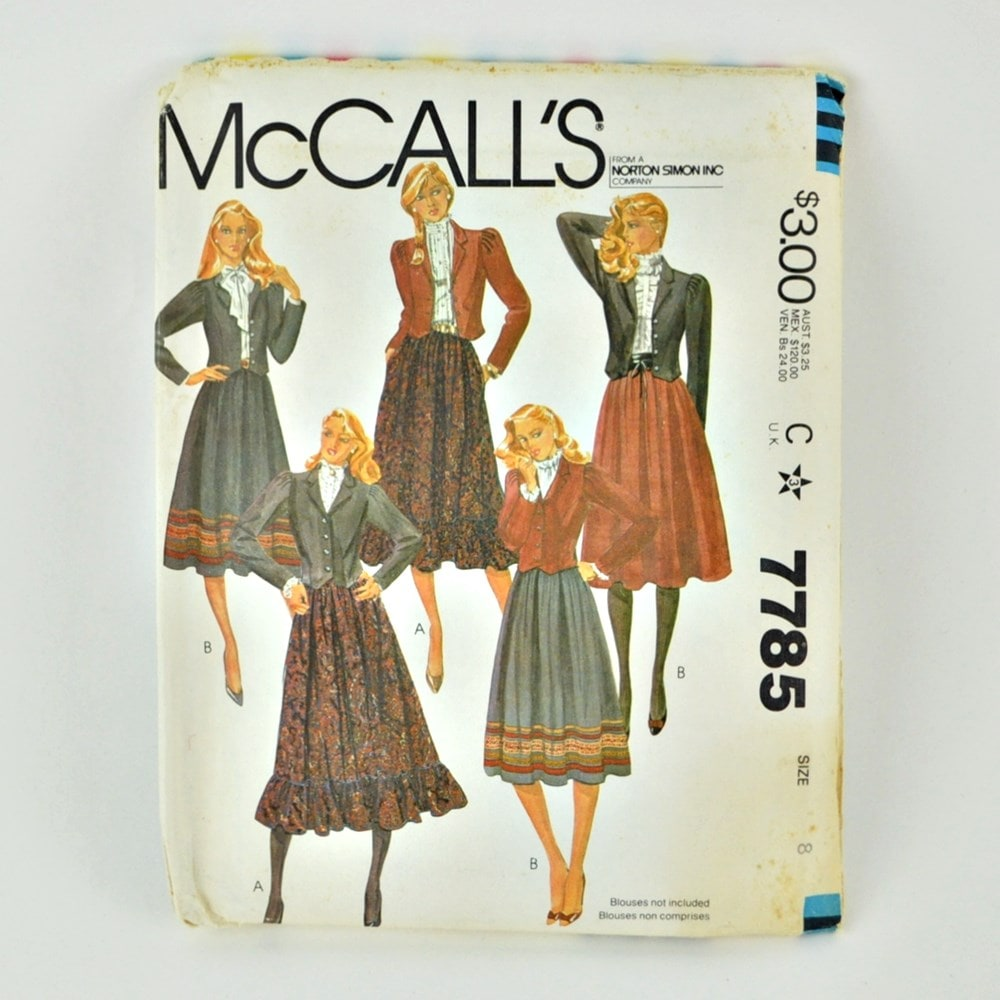 1980's Pattern Peasant Skirt and Jacket McCalls 7785 Bust 31″
