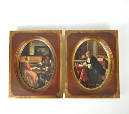 "Pair of Gabriel Metsu prints, Dutch Masters, ""Man Writing A Letter"" and ""Man and Woman Sitting At the Virginals."""