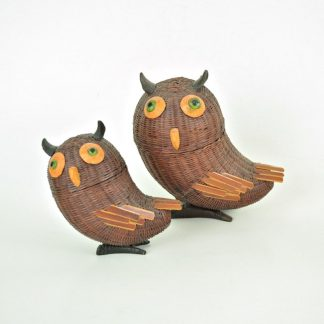 Vintage wicker owl basket set. Two rattan owl trinket boxes.
