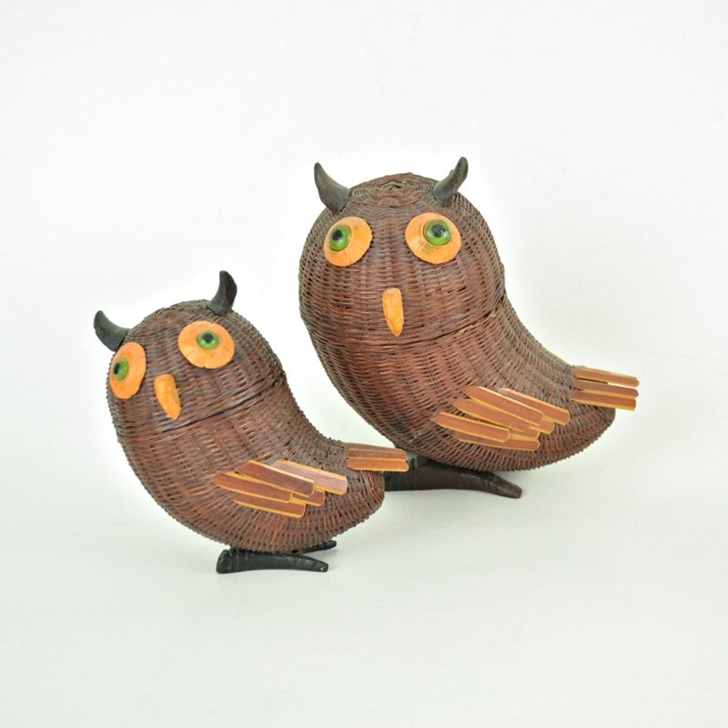 Vintage wicker owl basket set. Two rattan owl trinket boxes.