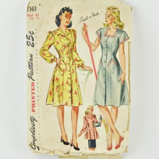 """Simplicity 2161. Vintage 1940s dress pattern for bust 42""""."""