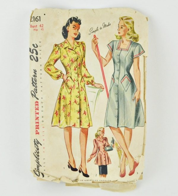 "Simplicity 2161. Vintage 1940s dress pattern for bust 42""."