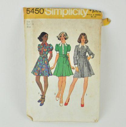 Vintage Simplicity 5450 pattern, a 1972 babydoll dress