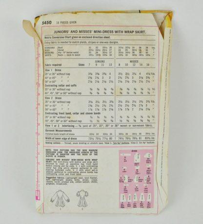 Vintage Simplicity pattern 5450 - back of envelope