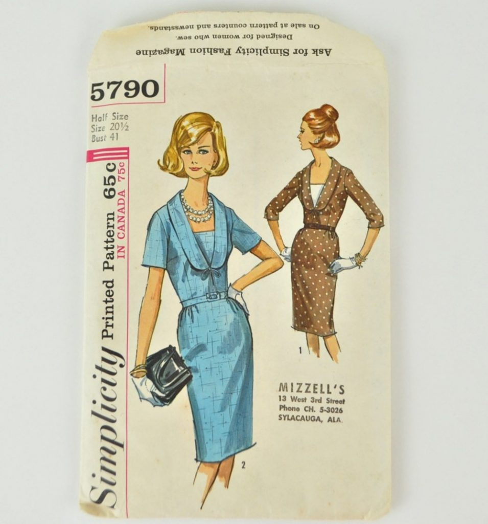 Vintage 1960s Simplicity 5790 Pattern Slim Belted Dress