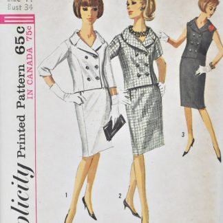 Vintage 1960s Simplicity 5887. Double-breasted jacket with 3 sleeve lengths and slim skirt.