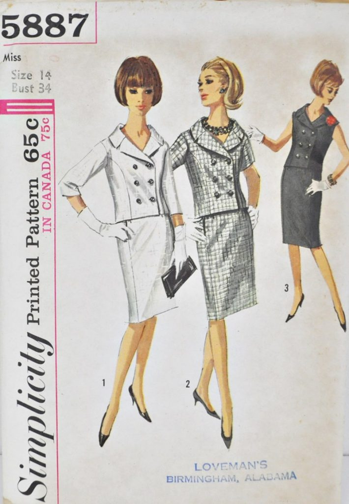 Simplicity 5887 1960's Double Breasted Jacket and Skirt – Bust 34