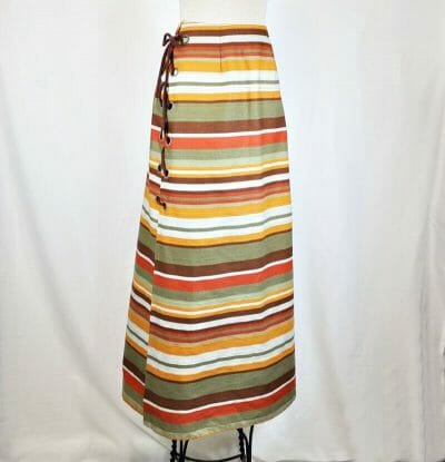 Home sewn, fall colors, lace up, maxi skirt