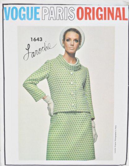 """Vintage Vogue 1643. Laroche Paris Original. Suit jacket, skirt and blouse. 34"""" bust."""