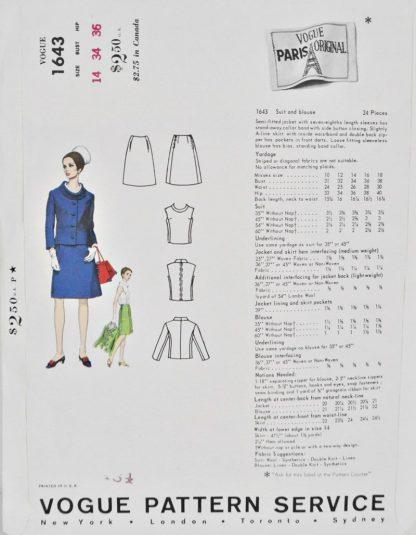 Back of pattern envelope Vogue 1643