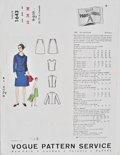 Back of pattern envelope Vogue 1643